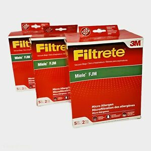 3X Filtrete Miele FJM Vacuum Bags 15 Bags 6 Filters Micro Allergen 3M NEW