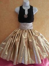SEXY NEW 4 PIECE GOLD LAME' TUTU SKIRT & BLACK TOP SET PARTY BRIDAL EVENING CLUB