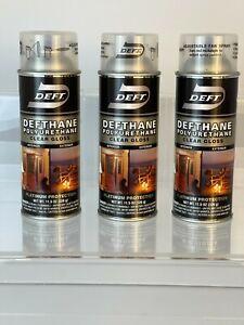 3 Cans -Deft Interior/Exterior Wood-Working Polyurethane Clear Gloss, Adj. Spray