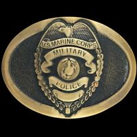 Vtg 80s US Marine Corps Military Police MP Commemorative Rare Brass Belt Buckle