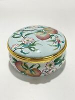 Halcyon Days PEACHES Enamel Trinket Pill Box Qing Dynasty Famille Rose