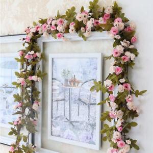 SHABBY CHIC PINK ROSE GARLAND FLOWER VINTAGE 7ft WEDDING STRING BEDROOM DECOR