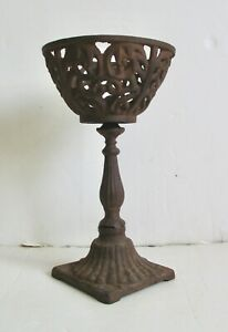 Vintage Cast Iron Candle Holder Planter Home Office Garden Decor Rustic Rusted