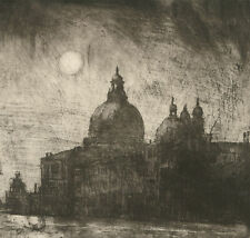 Ronald Olley (b.1923) - c. 2000 Etching, Santa Maria Della Salute in Monochrome