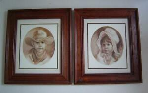 2 Vtg Western Pictures~Boy with Cowboy Hat & Girl with Bonnet~Country~Farm House