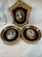 Lot of 3 Lady Hamilton  Vintage Picture Gold Oval Antique C750