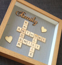Personalised Family Scrabble Letter Box Frame Picture Mothers day Present Mum