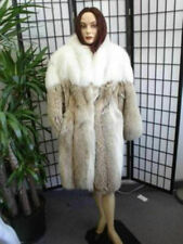 ! EXCELLENT CANADIAN COYOTE & WHITE FOX FUR COAT JACKET WOMEN WOMAN 14 XXL