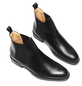 Mens Chelsea Boots Patent Leather Shoe High-top Slip-on Business Black Round Toe