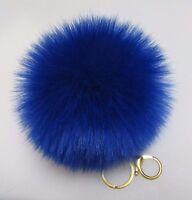 Magenta Fluffy Pom-Pom Faux Fox Fur Large Keychain Gift 5.0-5.5 in