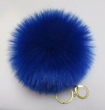Blue Fluffy Pom-Pom Faux Fox Fur Large Keychain Gift 5.0-5.5 in