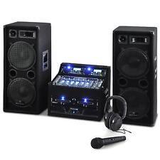 Sono Enceinte DJ avec Double Lecteur CD-USB Ampli PA Mixer à 4 Canaux 2000W Noir