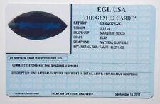 EGL USA TESTED Natural blue 1.18 ct MARQUISE MIXED VIVID BLUE SAPPHIRE, $1270!