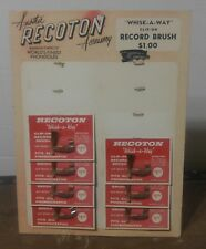 EARLY Vintage Recoton Whisk-A-Way Record Brush Store Display w/ 7 NOS Brushes