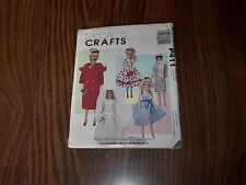 """Barbie Size Vintage Doll Clothes Pattern McCall 411 Uncut 11 1/2"""" Doll 1998"""
