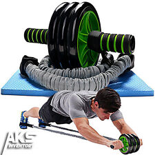 Ab Roller Pro w/ Resistance Band Abdominal Core Wheel Fitness Workout Exercise