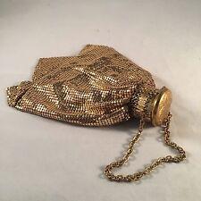 Vintage Whiting & Davis Gold Mesh Purse Gate Top Handbag Beggars Bag Flapper