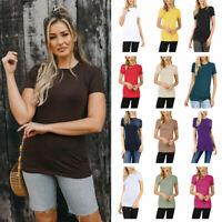 Womens Basic Solid Cotton Long Tee Short Sleeve Crew Neck Shirt Top