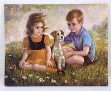 Vtg 8x10 Boy & Girl & Wire Haired Fox Terrier Dog Art Print PUPPY LOVE Medeiros