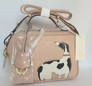 Radley & Friends Ziptop Cross Body Lurcher Whippet Greyhound Leather Handbag NWT