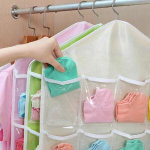 16 Pockets Hanging Wardrobe Clear Bag Storage Organizer Socks Clothes Hanger New
