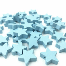 25X Light blue Star Wood Beads Spacer Bead Baby Pacifier Clip Jewelry Making