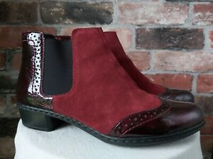 RIEKER REAL LEATHER/SUEDE BURGUNDY WINE BROGUE BOOTS SIZE 6 EU 39