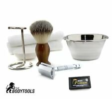 7 Pc Conjunto de Afeitar Plata Doble Filo Safety Razor-Kit de afeitado Natural para Hombre