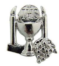 My Holy First Communion Silver Tone Chalice and Host Lapel Pin, 1 Inch