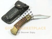 "Vintage 3"" Blade Lockback Folding Pocket Knife Pakistan Made w/ Leather Holster"