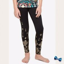 Justice Girl Size 10 Geometric ACTIVE Leggings Black With Gold Foil New with Tag