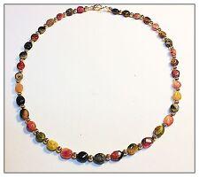 Genuine Tourmaline Gemstone Necklace Rainbow Watermelon Silver 16 inches