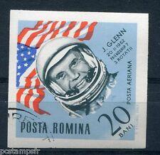 ROUMANIE, 1964,  timbre aérien 201, ESPACE, CONQUETE, GLENN, DRAPEAU, oblitéré