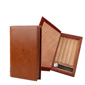 COHIBA Reise Zedernholz Humidor Box Leder Zigarre Book Case für 5 Zigarren Braun