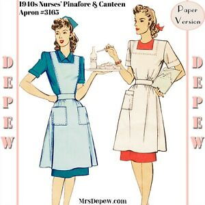 Vintage Sewing Pattern 1940s Nurses' Uniform Pinafore & Canteen Apron Red Cross