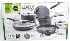 GreenPan Levels 11pc Cookware Set Stackable Hard Anodized Ceramic Nonstick Black