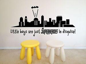 Superheroes in Disguise, Little Boys, Batman style wall art vinyl decal sticker