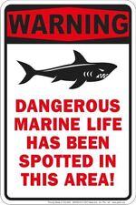 Warning / Dangerous Marine Life Shark Sign . 8x12 metal sign