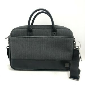 Knomo London Laptop Case Bag Grey Black Herringbone Everyday Work Travel 241277