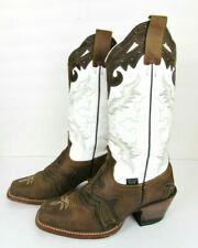 Original REYME Brown & White Leather Cowboy Western Boots Women's 8 M