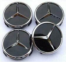 4x Mercedes-Benz Nabendeckel 60mm Nabenkappen Felgendeckel Schwarz/Glanz NEU