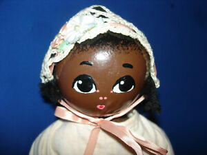 Folk Artist Otis Lael AA Brown Wooden Baby Doll Minnesota 1982 Americana