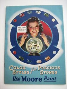 """1941 Advertising Booklet for """"Moore Paint"""" Color Styles From Precious Stones *"""