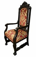 Antique Tudor/Jacobean Carved Oak Throne Type Accent Chair