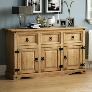 Corona Sideboard 3 Door 3 Drawer Mexican Solid Waxed Pine Cabinet Furniture