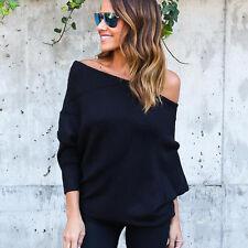 Women Off Shoulder Blouse Bat Sleeve T-Shirt Loose Cotton Strapless Tops V3