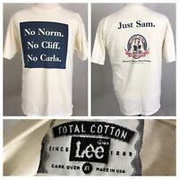VTG SAMUEL ADAMS BEER NO NORM NO CLIFF JUST SAM WHITE USA MADE T-SHIRT SZ XL