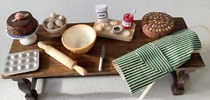 Dolls house miniature 1:12 mixed lot of baking items - cake, prep board