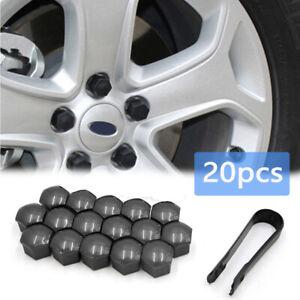 20 pcs Wheel Lug Nut Bolt Center Screw Cover 17mm Black Caps Bolt Rims & Clip