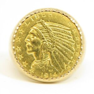 NYJEWEL 14k Gold 1914 Indian Head $5 Dollars Gold Coin Ring 19.9g